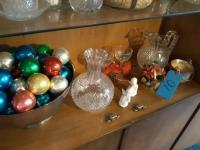 Shelf of miscellaneous items including crystal vase - Crystal pitcher - 2 toasting glasses - little silver plated pot etc.