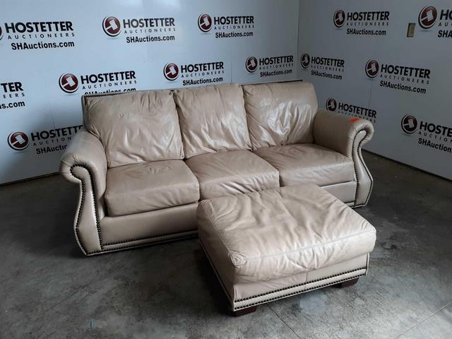 Lot 100 Of 119 Viewpoint Taupe Leather Sofa And Ottoman Detailed With Brads 46 In Deep X 34 Inches High 88 Wide