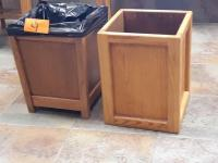 2 - wooden waste cans - 12 inch square by 16 in high - solid oak