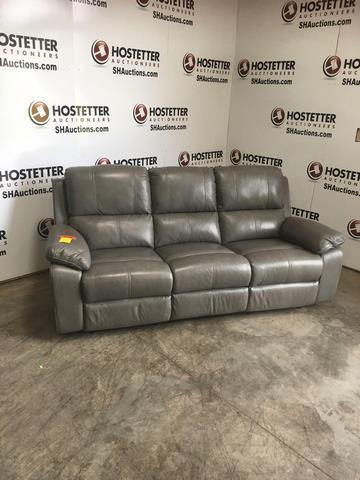 3 Cushion Grey Reclining Leather Sofa 37 X30 X79 Small Blue Stain