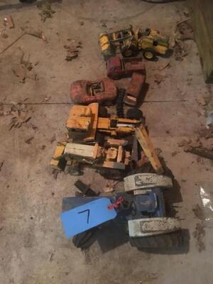 Lot of 4 toy tractors and 3 toy cars