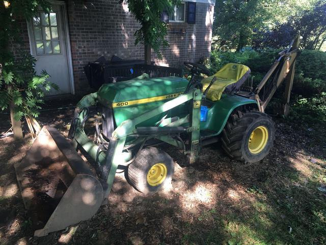 John Deere 400 Tractor with front loader and Brantley MFG