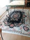 Windsor 100% wool rug hand-hooked in China area rug - pinks greens golds black - 11 foot 4 in x 96 in