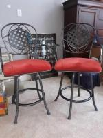 2 - heavy sturdy metal frame counter High stools with padded seats - 20in deep x 33 in high X 21 in high - seat Height 24 in