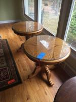 Pair of round end tables with glass tops - 25 diameter x 21 high