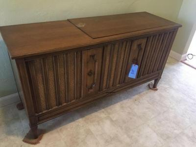 Retro stereo cabinet - radio - turn table - vinyl albums not included - 18 d x 29 h x 56 w