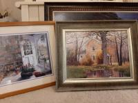 "Matted and framed under glass - ""preservations"" signed by Susan nick claough - 25"" x 28"" - framed painting of a home - 26"" x 31"""