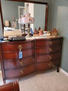 "dresser and mirror - dove tailed drawers - matches 2a & 3 -21"" d x 56"" h x 52"" w - curved drawers - contents on top not included"