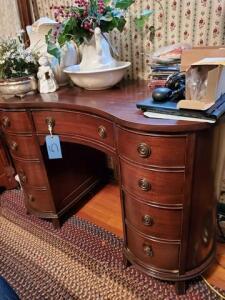 "Taylor curved front desk - dove tailed drawers - contents on top not included - 22"" d x 30"" h x 44"" w"