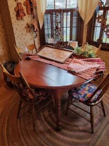 "wooden kitchen table with 4 chairs - 48"" round - contents not included"