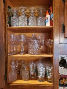 Contents of cabinet - glassware - lead crystal - cut glass stemware