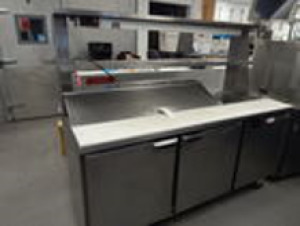 Beverage Air Stainless Prep Table with Corian Top and Hatco Warming Light On Wheels  6'x2.5'x5'2""