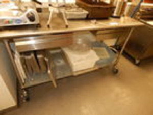 Rolling 2 Drawer Stainless Steel Prep Table 6'x2.5'x3.4'