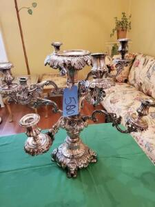 "Candelabra - silver plated - 21"" h x 16"" dia.- arms are removable"