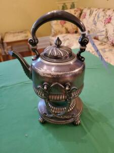 "Silver plate sterno teapot - 12"" h - some wear"