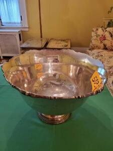 "Vintage silver plate punch bowl - 10 "" h x 16"" w - some wear - r wallace 0321 silver soldered"