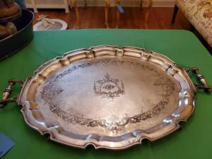"Silver plate tray - stamped 1862 - ball feet - 18"" d x 27"" w"