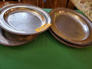 "4 - Silver plated trays - some wear - 14"" x 18"""