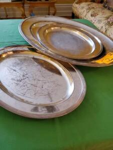 "3- silver plated serving trays 2 14"" x 10.5"" - 1 21"" x 14"" - some wear"