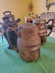3 silver soldered coffee pots