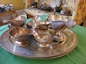 Silver soldered 2 trays and 6 gravy boats