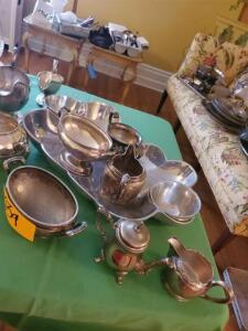 Appetizer tray with sauce dishes - various pictures and creamers silver soldered