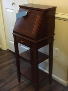 Wooden end table height:39in width:17in