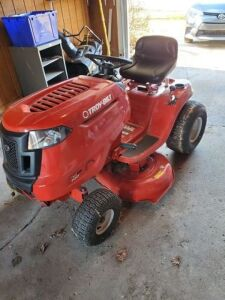"Troy-Bilt riding mower - 42"" cut - used once - beautiful condition - battery needs charged"
