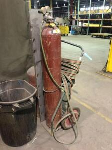 2 gas cans with moving cart and hose attachment (welding supplies)