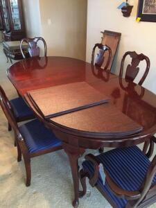 "Beautiful Dining room set with 6 chairs - pads included - 44 d x 29 h x 84 w with one 16"" leaf- there is another 16"" leaf"