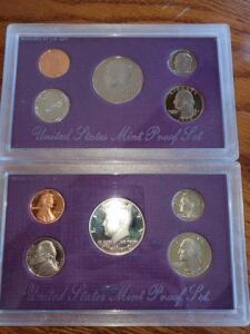 2- united states proof sets - 1990
