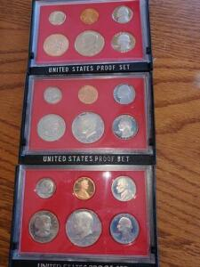 3- united states proof sets - 1980, 1981, 1982