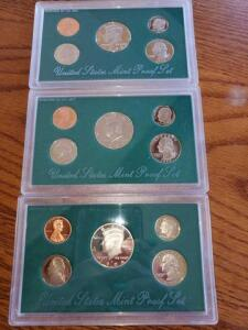 3- united states proof sets - 1994, 1995, 1996