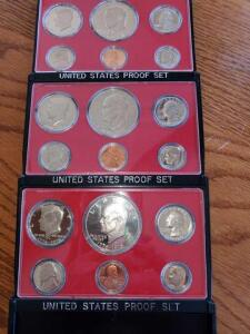 3 united states proof sets- 1975, 1976, 1977