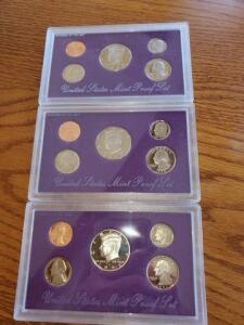 3- united states proof sets - 1991, 1992, 1993