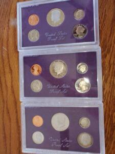 3- united states proof sets - 1984, 1985, 1986