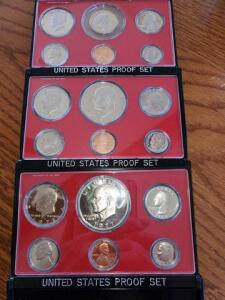 3- united states proof sets - 1977, 1978, 1979