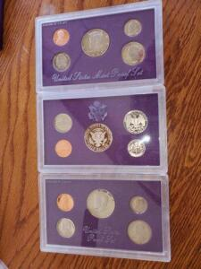 3- united states proof sets - 1987, 1988, 1989