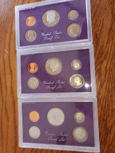 3- united states proof sets - 1984, 1985 1986