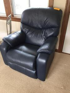 Blue leather La-Z-Boy recliner