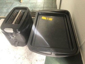 toaster and lot of pans