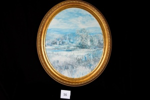 "Oval Gold-Framed Picture - Winter Landscape Scene (Approx. 28"" x 24"")"
