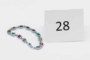 Colored Glass Silver Bracelet