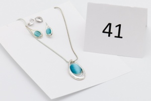 Silver Blue Glass Necklace w/ 2 Pairs of Earrings