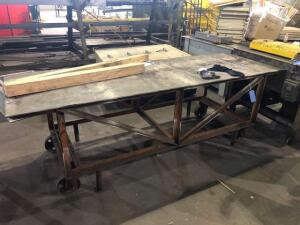 "Rolling metal work bench table (36""x34""x108"")"