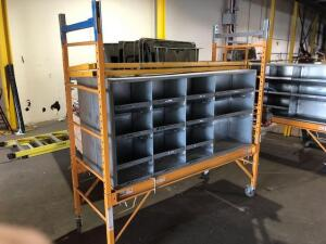 "Metal rolling scaffolding unit with divider unit (29""x79""x94"")"