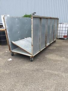 Large metal rolling bin/cart - 48 d x 60 h x 124 w