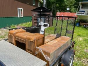 lot of trailer contents (filing cabinet, tires, wooden desk, and mirror) trailer not included)