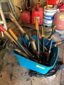 Bin of clippers and hand tools