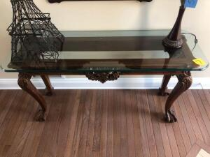 "Sofa table with ornate design, claw foot - glass top—wood frame-18"" x 27"" x 52"""